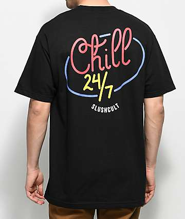 Slushcult Chill 24&#47 7 Black T-Shirt