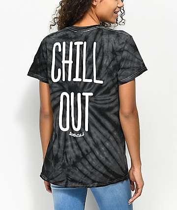 Slushcult Chill Out Black Tie Dye T-Shirt