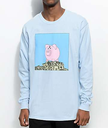 Some Hoodlum Bank Account Light Blue Long Sleeve T-Shirt
