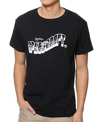 Spacecraft Postcard Black T-Shirt