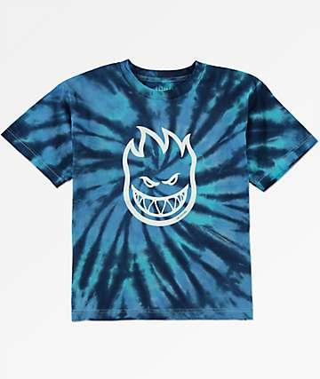 Spitfire Big Head camiseta en azul marino con efecto tie dye para niños
