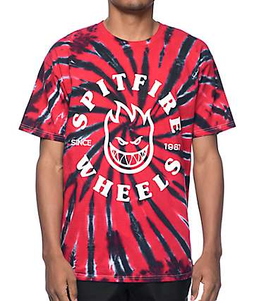 Spitfire Classic Bighead Black & Red Tie Dye T-Shirt