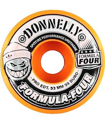 Spitfire Formula Four 53mm Adidas X Donnelly 99 Duro Orange Conical Skateboard Wheels