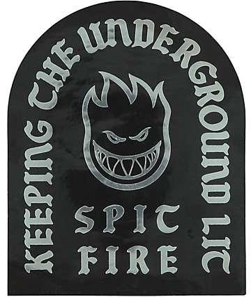 Spitfire Keeping The Underground Lit pegatina en negro y color plata