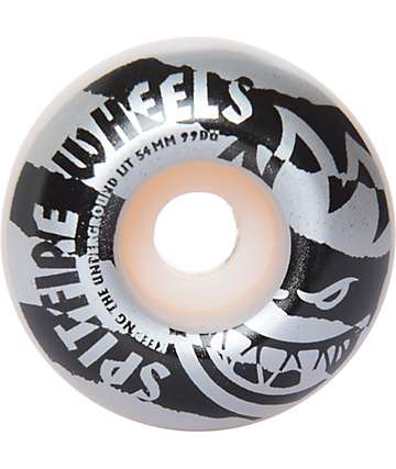 Spitfire Shredded Classics 54mm 99a Silver & Black Skateboard Wheels