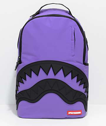 Sprayground 3M Purple Black Rubber Shark Backpack
