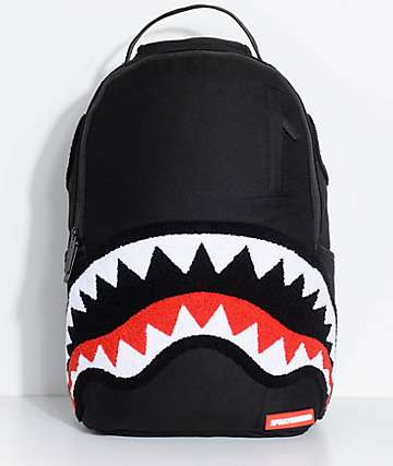 Sprayground Ghost Chenille Shark mochila negra