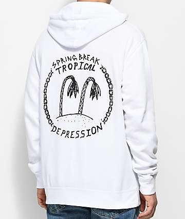 Spring Break Tropical Depression White Pullover Hoodie