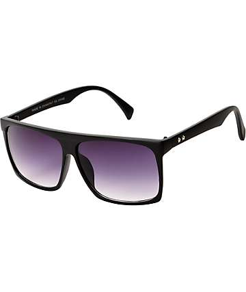 Squared Off Black Flat Top Sunglasses