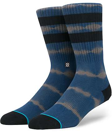Stance 6 AM Navy & White Tie Dye Crew Socks