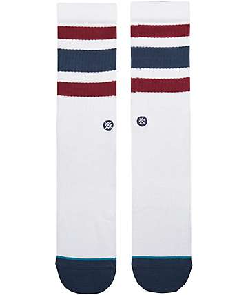 Stance Boyd 3 White, Red & Navy Crew Socks