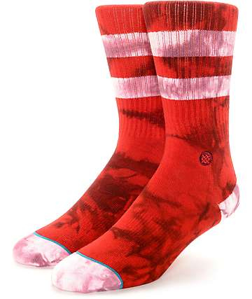 Stance Burned Red Tie Dye Rugby Crew Socks