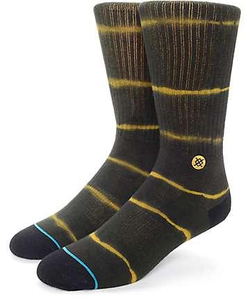 Stance Frank Gold & Black Tie Dye Crew Socks