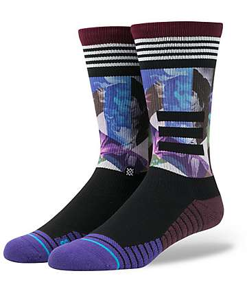 Stance Fusion Point Tome Tropical Floral Purple & Black Athletic Crew Socks