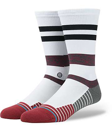 Stance Fusion Tidal Red, White & Black Crew Socks