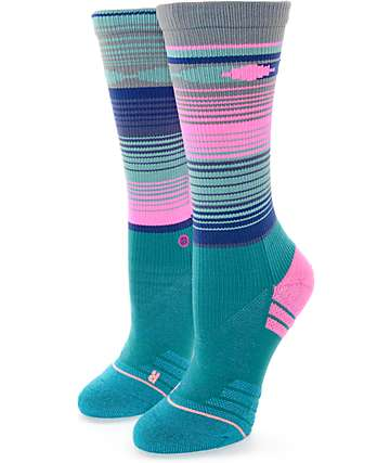Stance Fusion Trabajo Teal & Neon Pink Athletic Crew Socks