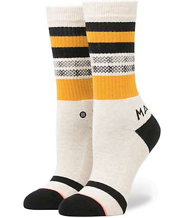 Stance Hana Oatmeal, Black & Yellow Crew Socks