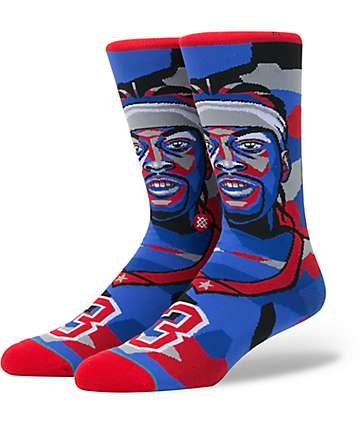 Stance X NBA Allen Iverson Mosaic Red & Blue Crew Socks