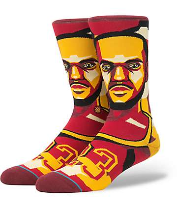 Stance X NBA LeBron James Mosaic Burgundy, Black  & Gold Crew Socks