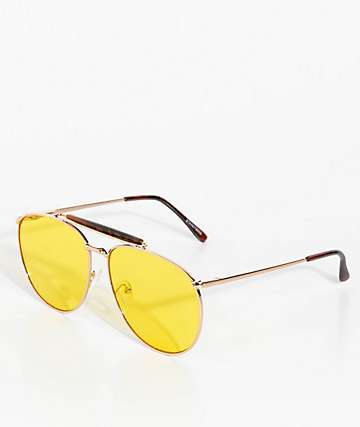 Stanley Gold & Yellow Aviator Sunglasses