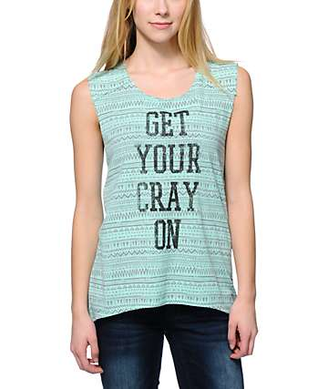 Starling Get Your Cray On Mint Tribal Print Muscle Tee