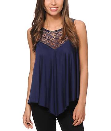 Starling Kendra Lace Open Back Navy Tank Top