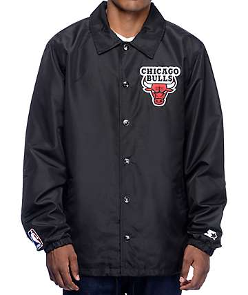 Starter Bulls Black Coaches Jacket