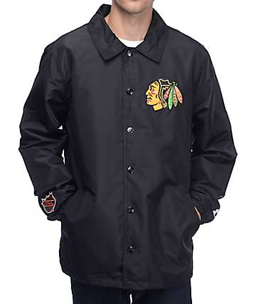 Starter Chicago Blackhawks Black Coaches Jacket