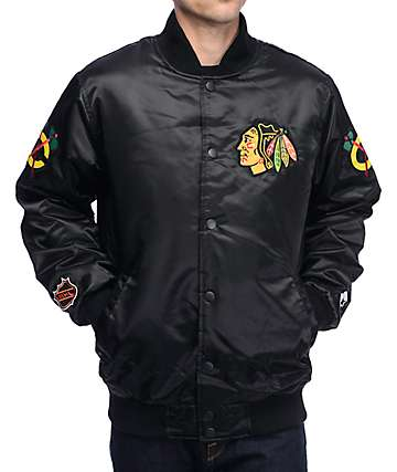 Starter Chicago Blackhawks Black Satin Bomber Jacket