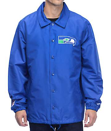 Starter Seahawks Royal Blue Coaches Jacket