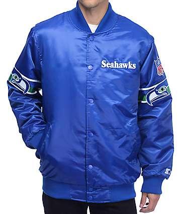 Starter Seahawks Satin Royal Blue Jacket