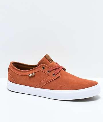 State Bishop Brick & White Suede Skate Shoes