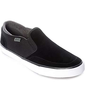 State Keys Black & White Suede Skate Shoes