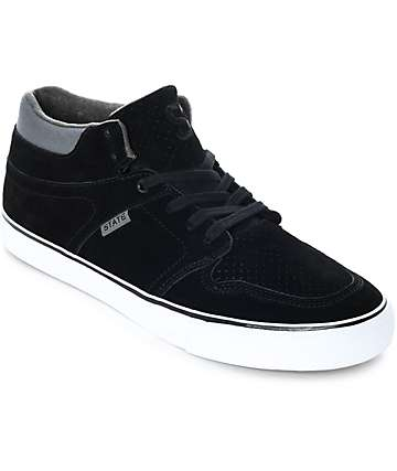 State Mercer Black & Pewter Suede Skate Shoes