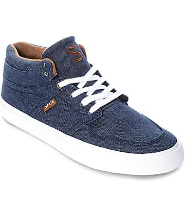 State Mercer Blue Denim & White Skate Shoes