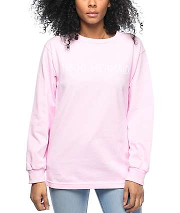 Stay Cute 1-800-Mermaid camiseta rosa de manga larga