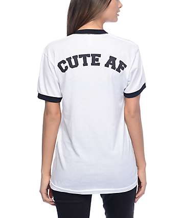 Stay Cute AF Black & White Ringer T-Shirt