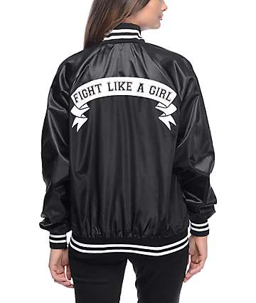 Stay Cute Fight Like A Girl chaqueta bomber en negro