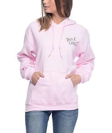 Stay Cute Girl Gang Pink Pullover Hoodie