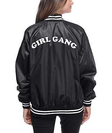 Stay Cute Girl Gang chaqueta bomber en negro