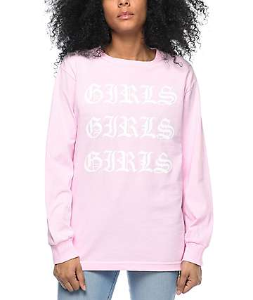 Stay Cute Girls Girls Girls Pink Long Sleeve T-Shirt