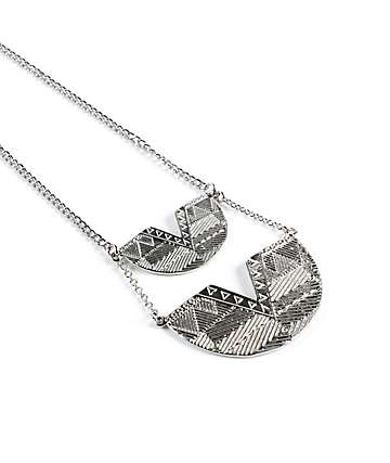 Stone + Locket 2 Tier Etched Tribal Necklace