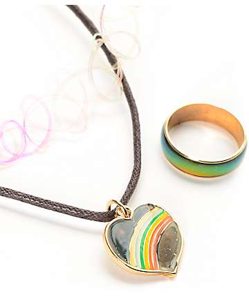 Stone + Locket 90's Heart, Tattoo Choker & Mood Ring Set