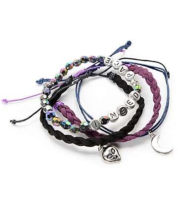 Stone + Locket Alien, Moon & Braid 4 Pack Bracelets