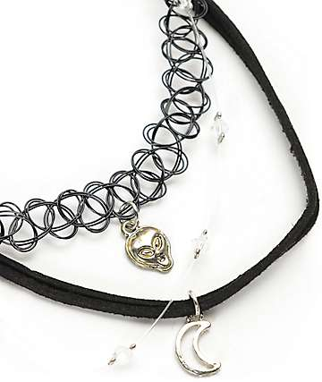 Stone + Locket Alien, Moon & Floating Bead Choker Set