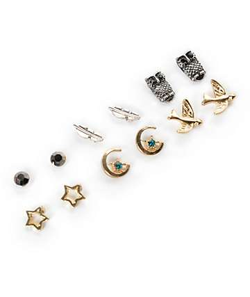 Stone + Locket Bird & Stone Multipack Stud Earrings