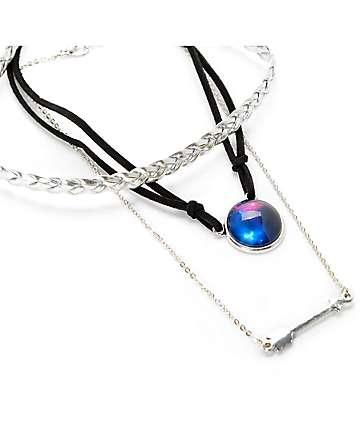 Stone + Locket Braid, Galaxy & Arrow Chocker Necklace 3 Pack