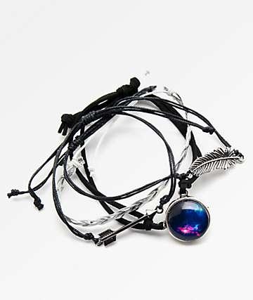 Stone + Locket Braid, Galaxy & Arrow set de pulseras