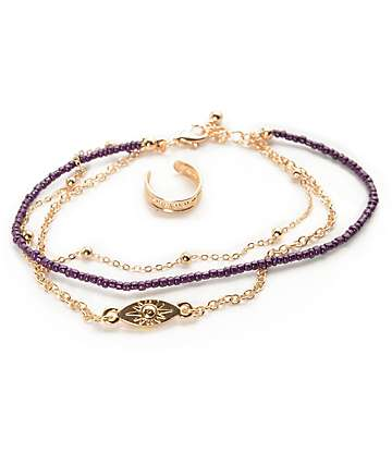 Stone + Locket Burgundy Evil Eye Triple Anklet & Toe Ring Pack