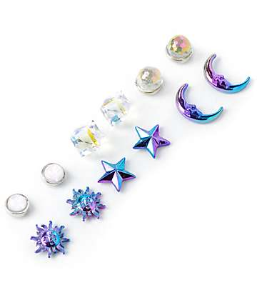 Stone + Locket Celestial multipack pendientes multicoloreados